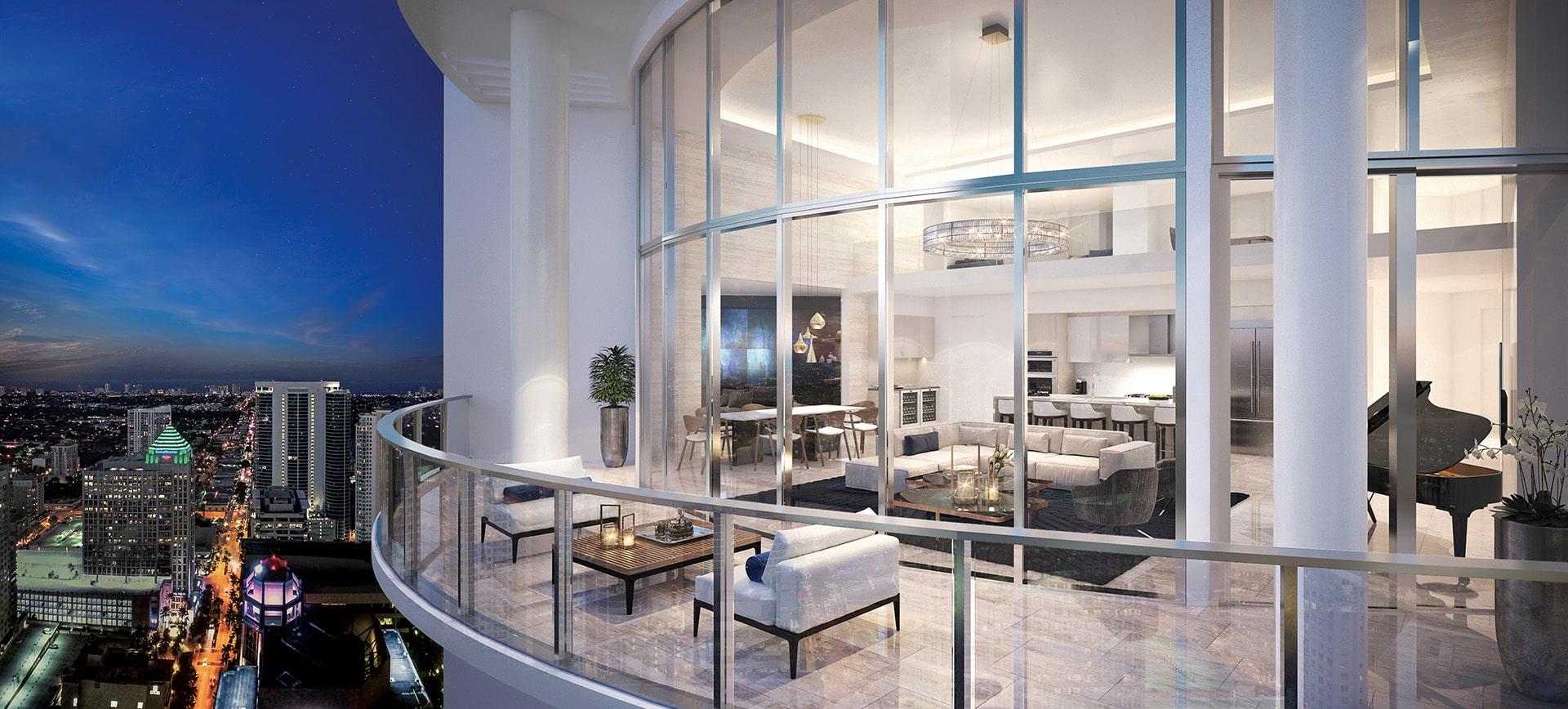 100 Las Olas Penthouse 4603 Balcony Rendering by Kolter Urban