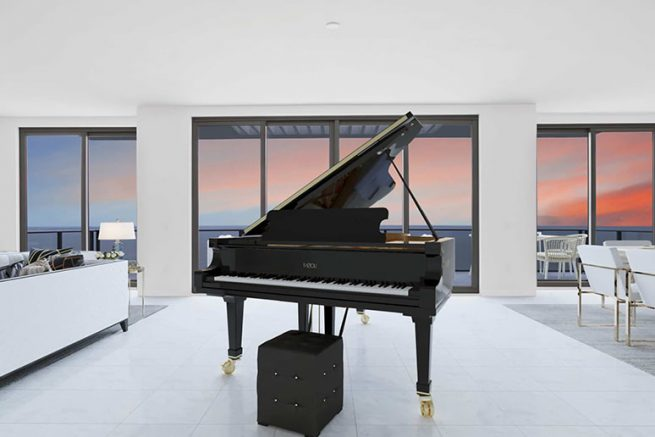 ONE St. Pete penthouse living room - piano