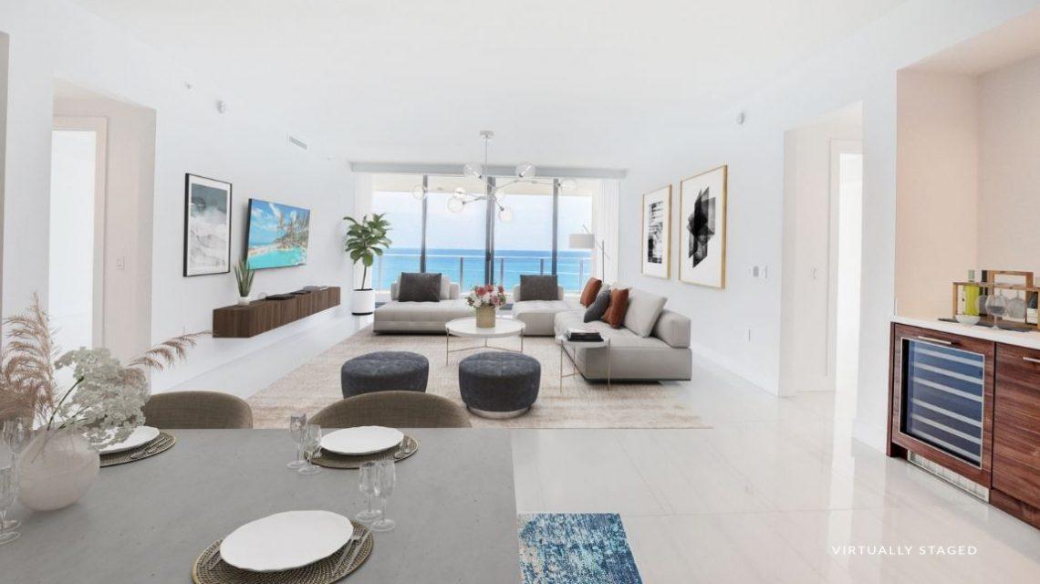 5000 North Ocean BeachWalk 1102 Virtually Staged Kitchen & Great Room