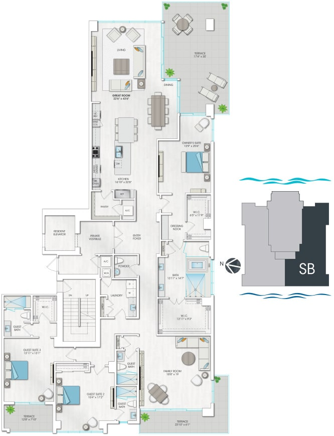 Floorplan of Seabreeze South 1503