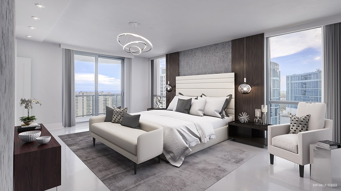 master bedroom with views of downtown fort lauderdale