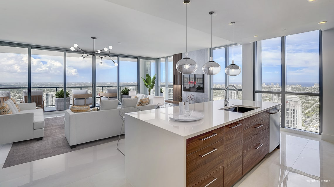 kitchen island looking out to the great room with views of downtown fort lauderdale