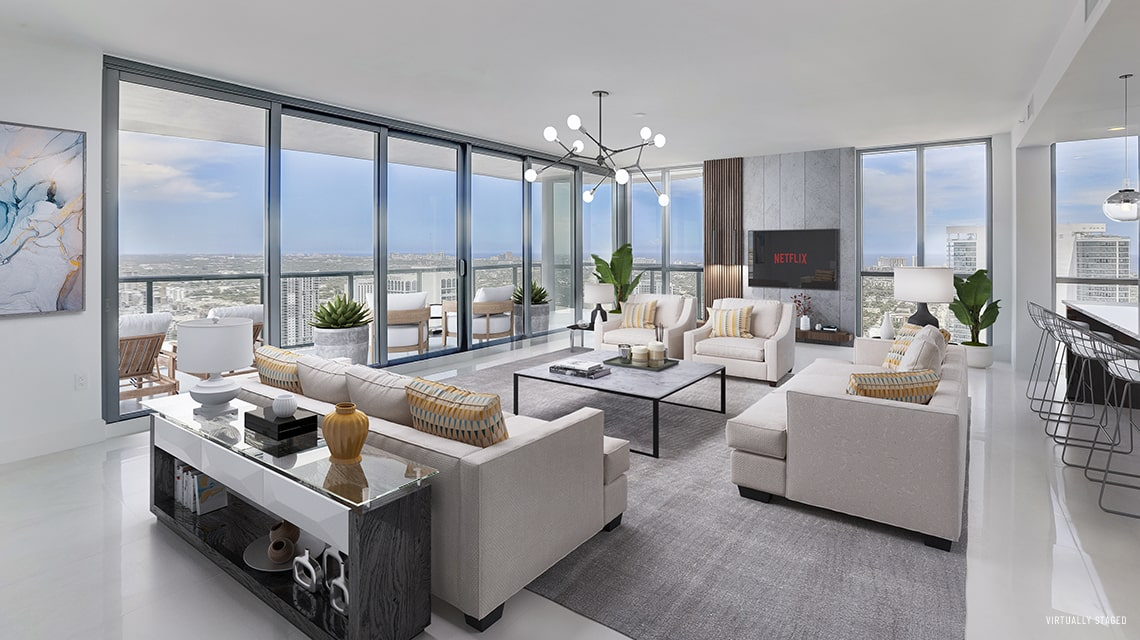 expansive great room with views of downtown fort lauderdale