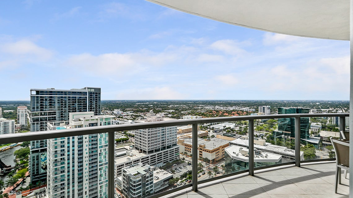 100 las olas residence c terrace looking out to downtown fort lauderdale florida